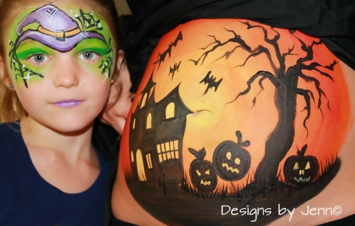 we are also now offering belly castingsyou have the option of having the casting painted by us or having the unfinished casting for your family and - Pregnant Halloween Painted Bellies